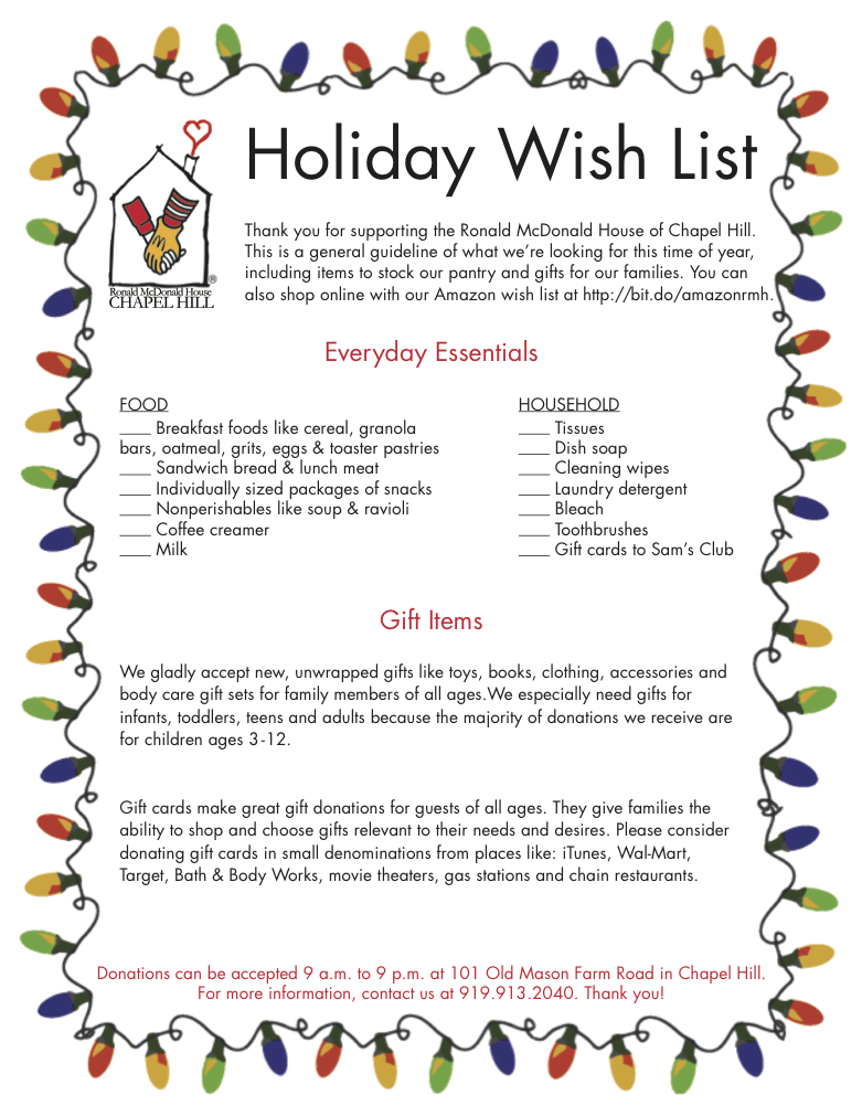 Holiday wish list drives ronald mcdonald house of chapel for Home wish list