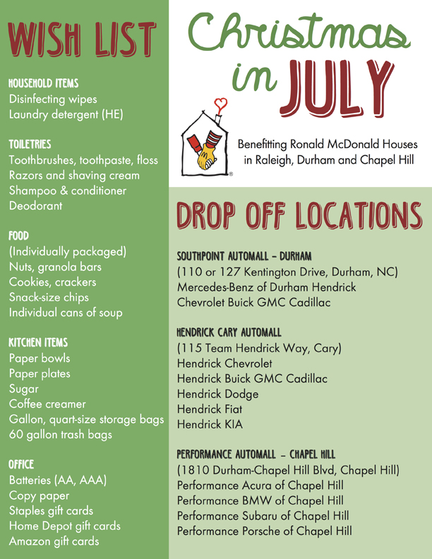 Christmas in July Wish List Drive Ronald McDonald House of Chapel Hill